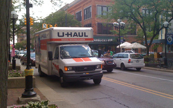 Steve pulling up in the Uhaul that saved us!