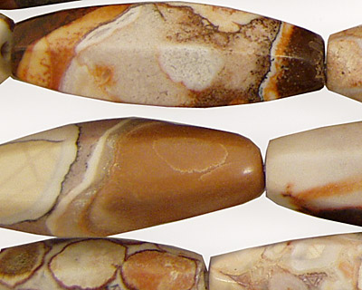Conglomerate Jasper 6 Sided Rice 35x12mm