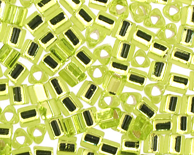 TOHO Lime Green (with Silver Lining) Triangle 11/0 Seed Bead