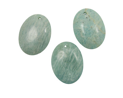 Russian Amazonite (light) Flat Oval Pendant 30x40mm