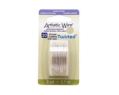Twisted Artistic Wire Non-Tarnish Silver 20 gauge, 3 yards