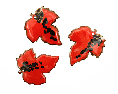 C-Koop Enameled Metal Rustic Red Large Maple Leaf 40x46mm