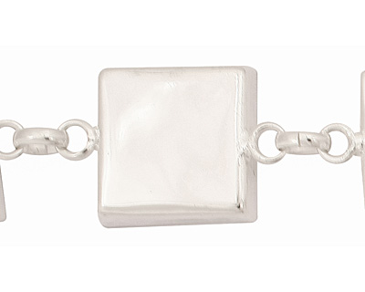 Silver (plated) Square Bezel Link Bracelet 19mm
