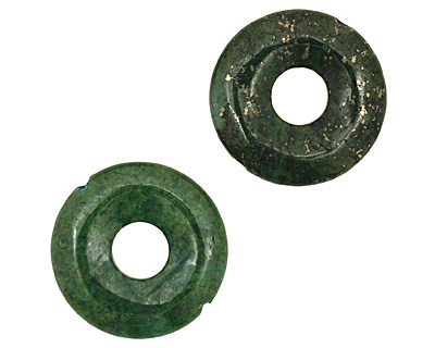 Green Chalcopyrite Drilled Donut 25mm