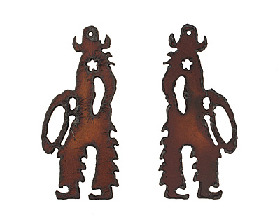 The Lipstick Ranch Rusted Iron Cowboy Pendant 34x76mm