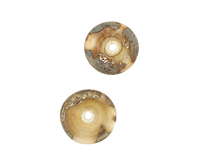 The BeadsNest Lampwork Glass Ivory Saucer 4-5x14-16mm
