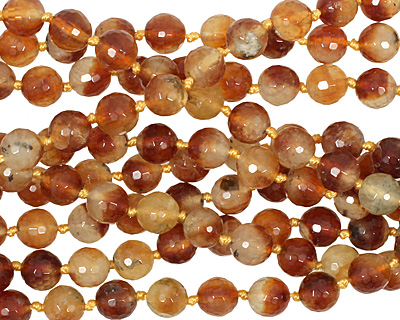 Honey Tourmilated Quartz Faceted Round 8mm