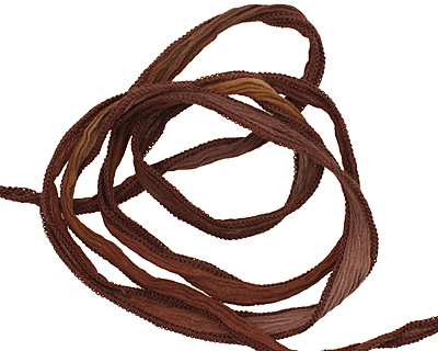 Mixed Brown Blend Hand Dyed 100% Silk Ribbon 1/2