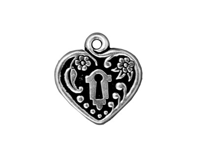 TierraCast Antique Silver (plated) Victorian Heart Frame Pendant 19mm