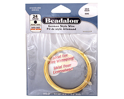 German Style Wire Gold (plated) Round 24 gauge, 12 meters