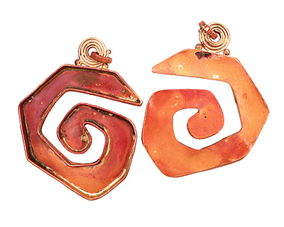 Patricia Healey Copper Spiral Bezel Pendant 50x65mm