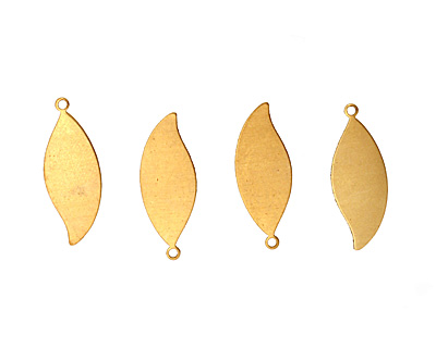 Brass Leaf Blank Pendant 10x27mm