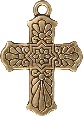 TierraCast Antique Gold (plated) Talavera Cross 22x30mm