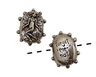 Green Girl Pewter Forget-Me-Not Fairy 16x22mm
