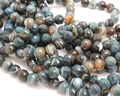 Slate Blue Line Agate Faceted Round 12mm