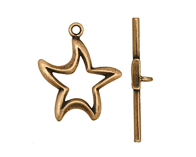 Antique Brass (plated) Stylized Star Toggle Clasp 24x20mm, 29mm