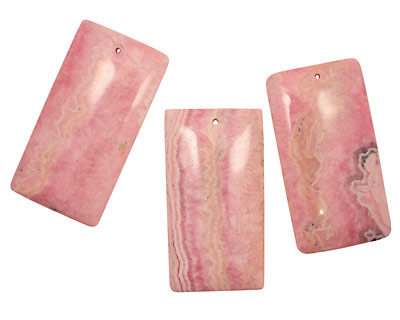 Rhodochrosite (soft pink) Long Rectangle Pendant 33x63mm