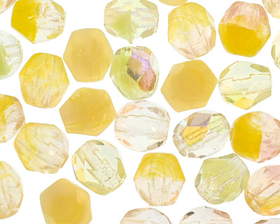 Czech Fire Polished Glass Yellow Mix Round 4mm
