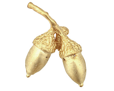 Ezel Findings Gold (plated) Acorn Branch Pendant 25x30mm