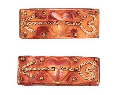 Patricia Healey Copper 3 Hole Heart w/ Arrow Bar 17x46mm