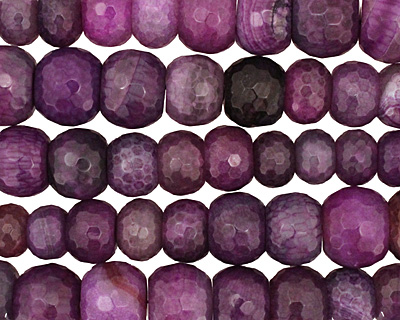 Purple Line Agate Faceted Rondelle Graduated 6-13x11-21mm
