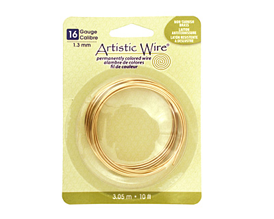 Artistic Wire Non-Tarnish Brass 16 gauge, 10 feet