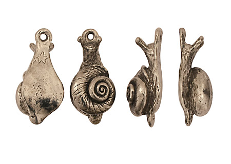 Green Girl Pewter Snail Dangle 11x26mm