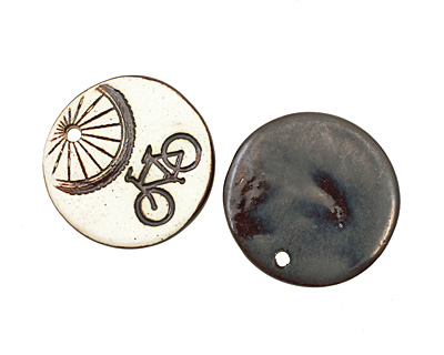 Earthenwood Studio Ceramic Oxidation Round Bicycle Pendant 36mm