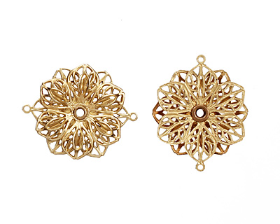 Brass Double Filigree Flower Link 26x21mm