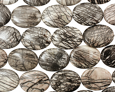 Black Water Jasper Flat Oval 40x30mm