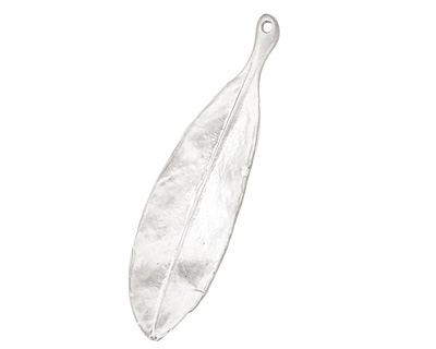 Ezel Findings Rhodium (plated) Blue Jack Oak Leaf Pendant 11x40mm
