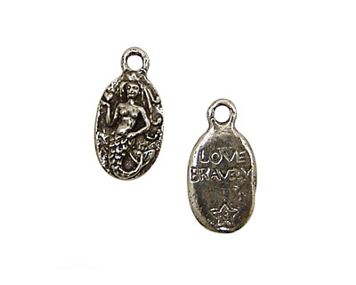 Green Girl Pewter Love Bravely Mermaid 11x23mm