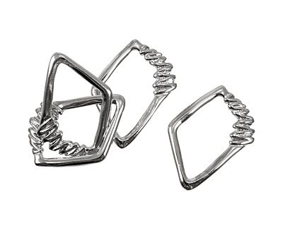 Silver (plated) Irregular Diamond w/ Zigzag 40x30mm