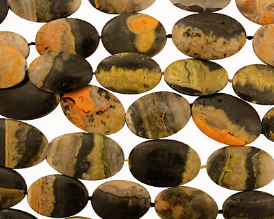 Mexican Sunflower Agate Flat Oval (med) 28-39x20-26mm