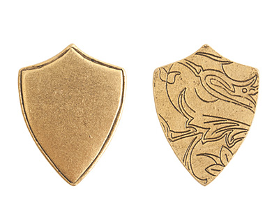 Nunn Design Antique Gold (plated) Crest Shield Tag 18x23mm