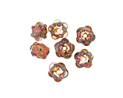 Grace Lampwork Multi-Color Rondelle 9x14mm