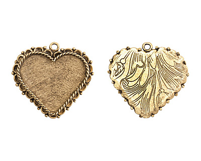 Nunn Design Antique Gold (plated) Large Ornate Heart Bezel Pendant 40x37mm