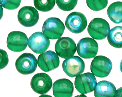 Czech Glass Green Emerald AB Round 4mm