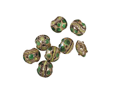 Grace Lampwork Dark Green w/ Metal Foil Lentil 14x15mm
