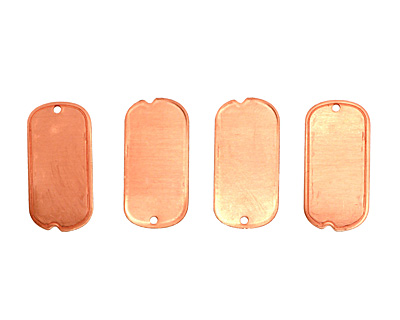 Copper Mini Dog Tag Blank 12x25mm