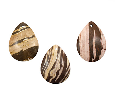 Brown Zebra Jasper Flat Teardrop Pendant 38x50mm