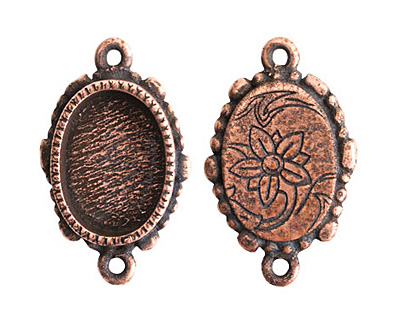 Nunn Design Antique Copper (plated) Mini Ornate Oval Bezel Link 24x15mm