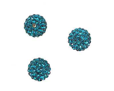 Teal Pave Round 10mm