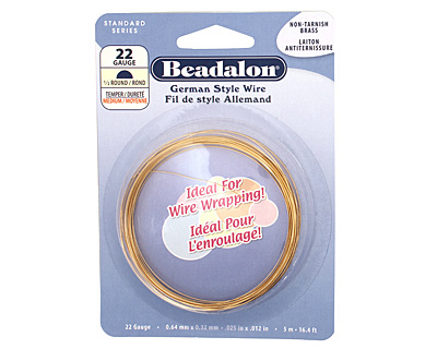 German Style Wire Non Tarnish Brass Half Round 22 gauge, 5 meters