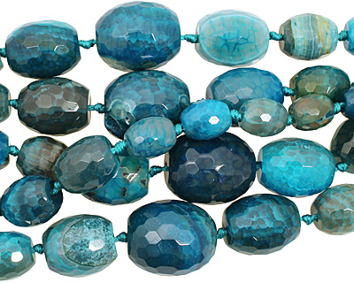Sky Blue Line Agate Faceted Rice Graduated 13-30x12-26mm