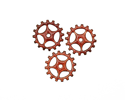 C-Koop Enameled Metal Ruby Red Sectioned Gear 19mm