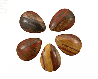 Golden Zebra Jasper Flat Teardrop 38x28mm