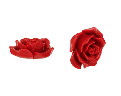 Coral (imitation) Carved Rose 25mm
