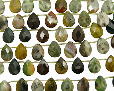 Ocean Jasper Faceted Flat Teardrop 16x20mm