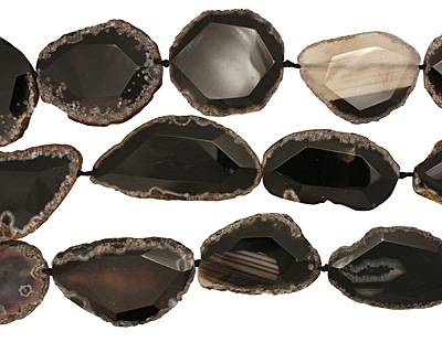 Black Agate Natural Edge Freeform Faceted Slab 50-68x30-41mm